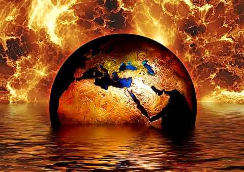 earth embroiled in climate change